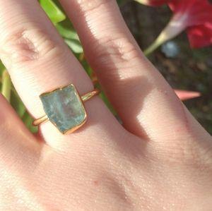 """Sea Glass"" Aquamarine Ring"